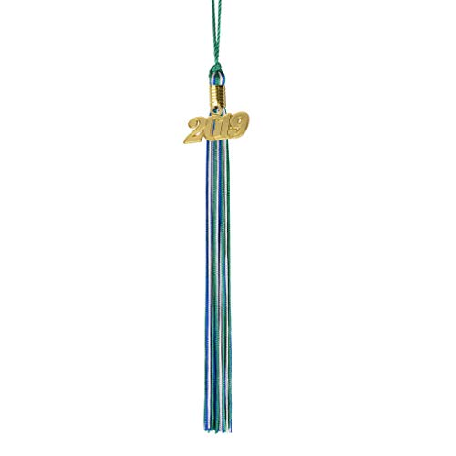 Act Green - Class Act Graduation Green Blue and Silver Graduation Tassel with 2019 Gold Charm
