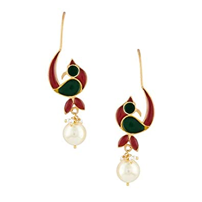 77de28366 Buy Ahilya Jewels Silver Drop Earrings for Women (Golden)(AER17131-00SPAA)  Online at Low Prices in India | Amazon Jewellery Store - Amazon.in