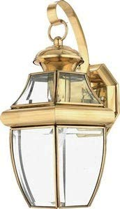 Quoizel NY8316B Newbury Outdoor Wall Lantern Wall Mount Lighting, 1-Light, 150 Watt, Polished Brass (14