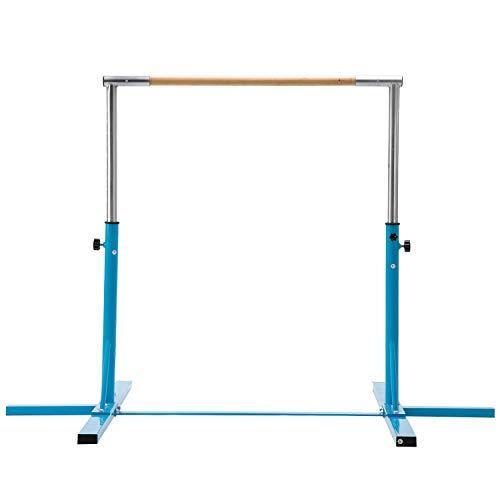 Usexport Blue Adjustable 3' to 5' Horizontal Bar Gymnastics Expandable Junior Training Bar