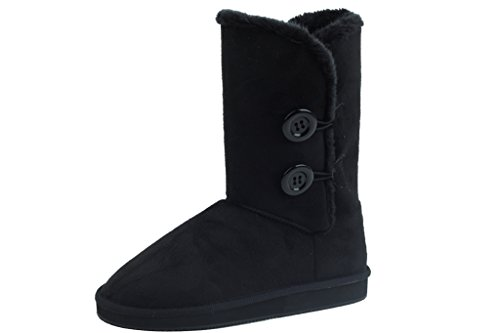 New Suede Boots Stylish Faux Women's Sunville 91055 Black 8xdZ1ff
