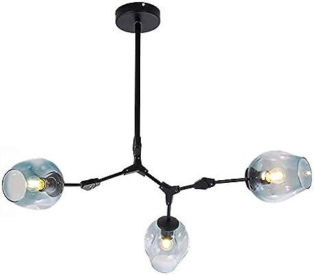 Round Handblown Glass Chandelier-Transparent 9-Lights E27 Industrial Molecule Adjustable Branch Pendant Light with CUICAN Nordic Sputnik Chandeliers