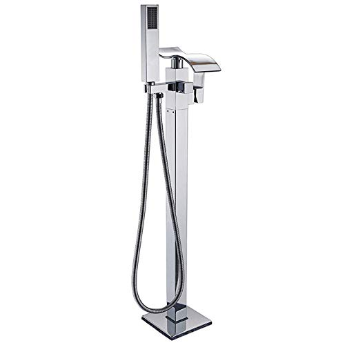 Floor Mounted Waterfall Spout Tub Shower Faucet Free Standing Bathtub Filler 1 Handle with Handheld Spray Head,Chrome Polished