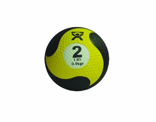 "CanDo Firm Non-Slip, Dual-Textured, Weighted Medicine Ball for Exercise, Workouts, Plyometrics, Warmups, Core Training and Stability. 8"" Diameter - Yellow - 2 lb"