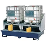 Denios K17-8005 2 IBC Painted Steel Dispensing Sump Platform with 2 Stands and Splashguard, 10000 lbs Load Capacity...