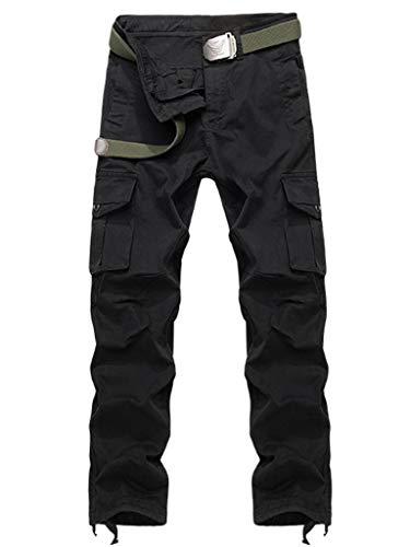 AKARMY Men's Relaxed Fit Cotton Casual Cargo Pant Combat Hiking Trousers BDC8710 Black