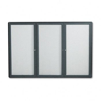ndoor Cork & Fabric Bulletin Board with Hinged Doors BOARD,FBRC,W/GLS,GY 120575 (Pack of 2) ()