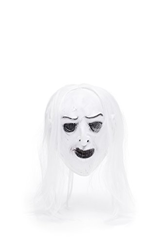 Adult Halloween Horror Vampire Dracula Face Mask Scary Party Role Play With Wig (Snow-white, jet-black)