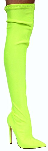 CAPE ROBBIN Lexi-3 Over Knee Thigh High Pointed Toe Elastic Stretchy Stiletto Heel Sock Boot Neon Yellow Neon Yellow vOBz6mXV