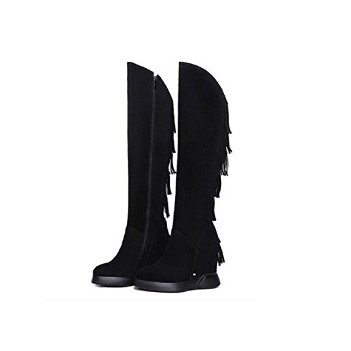 Suede Platform Leather Boots Over Suede Wedges Casual High The wdjjjnnnv Knee Bootie Fringed Thigh 34 Increased c0wqFB01d