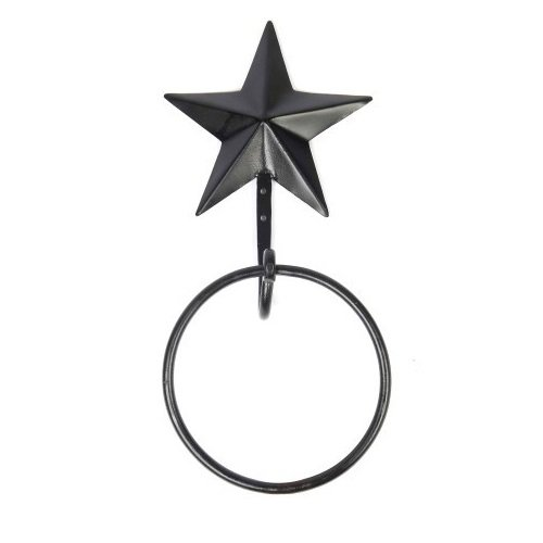 Home Collection by Raghu MWRE0028 Black Star Metal Towel Ring, 6'' D