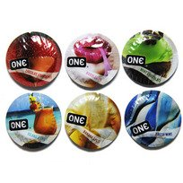 ONE Flavor Waves Premium Assorted Flavors Lubricated Latex Condoms with Silver Pocket/Travel Case-20 Count