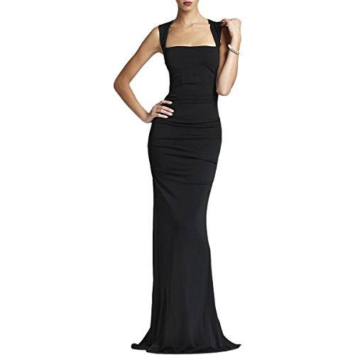 Nicole Miller Women's Felicity Stretchy Matte Jersey Gown, Black, 8