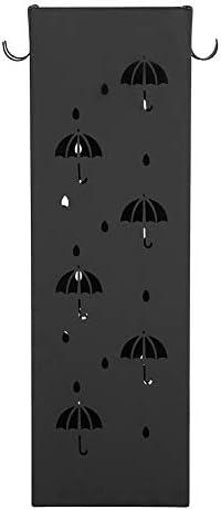 Zerone Umbrella Storage, Umbrella Hollowed Design Umbrella Stand Entryway Iron Umbrella Holder Rack with 4 Hooks for Long/Short Umbrellas Walking Sticks Canes Black