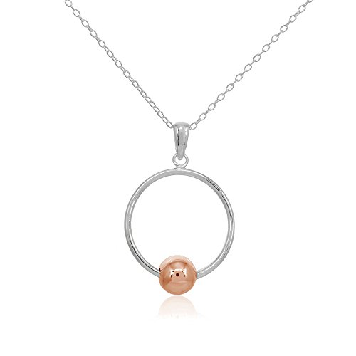Two-Tone Rose Gold Flashed Sterling Silver Polished Large Open Circle Bead Pendant Necklace