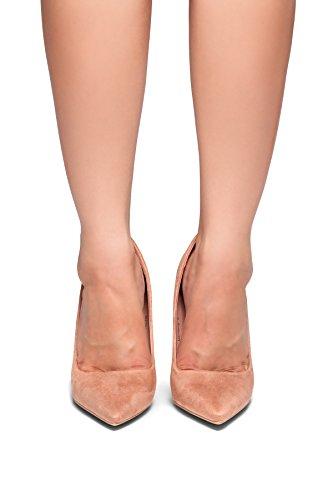 Herstyle Marneena / Daisie Suede Mujer Tacón Alto Con Vestido De Punta Estrecha Bomba De Trabajo Cómodo Zapatos Blush