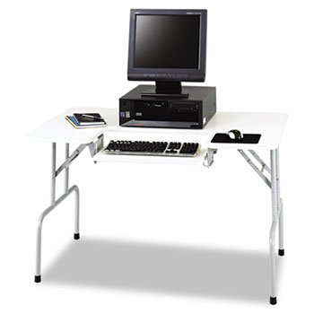 Safco : Folding Computer Table, Rectangular, 47-1/2w x 29-3/4d x 28-3/4h, Light Gray -:- Sold as 2 Packs of - 1 - / - Total of 2 Each