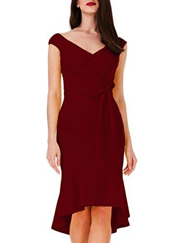 Burgundy Midi neck Elegant Ssyiz Fishtail V Dress Women's Party Pleated Custom wY6qI6v