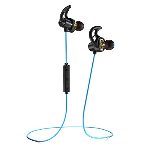 Phaiser BHS-790 Bluetooth Headphones with Dual Graphene Drivers and AptX Bluetooth 5.0 Sport Headset Earphones with Mic and Lifetime Sweatproof Guarantee - Wireless Earbuds for Running, Oceanblue -