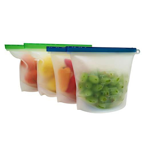 Reusable Silicone Food Storage Bags | Sandwich, Fruit, Sous Vide, Snack, Lunch, Liquid | Airtight Ziplock Seal | Microwave, Freezer Safe | 2 Large & 2 Medium Set