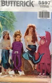 [Butterick 5597 sewing pattern makes Childrens Under the Sea Costumes Mermaid, Octopus, and Lobster makes size 4-5, 6-7, 8-10, and] (Lobster Costume Pattern)