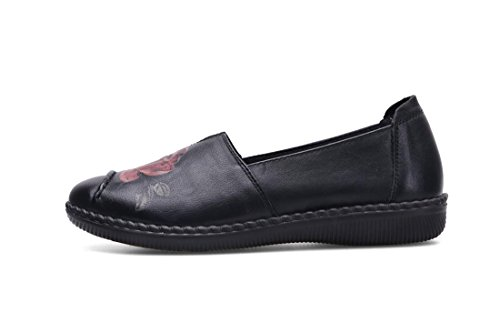 Partito uk Eur 5 Bottone Nero Marrone Donne Di 38 Singoli Autunno Antiscivolo Eur42uk85 5 Pattini Leisure Pompe Primavera Genuino Morbido Loafer New Comfort Cuoio Nvxie Rosso gBRUwPqxq