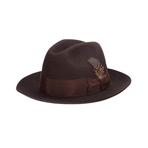 Stacy Adams Men's Cannery Row Wool Felt Fedora Hat, Chocolate, Medium ()