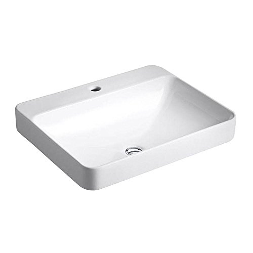 Kohler K-2660-1-0 Vitreous china Above counter Rectangular Bathroom Sink, 25.512 x 20.472 x 9.843 inches, White (Vitreous China White Rectangular Vessel Bathroom Sink)