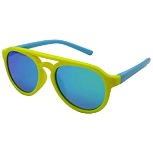 COOLSOME Flexible Rubber Kids Polarized Sunglasses Boys Girls Mirrored Lens Sunglasses Age 3-9 Yr (Yellow Blue)