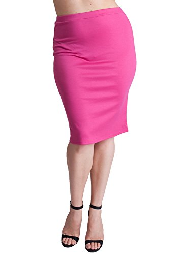 Woman Pink Plus Size Banded Waistline Pencil Skirt