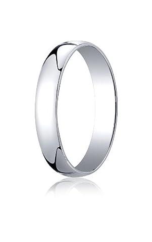 Mens 14K White Gold, 4.0mm Low Dome Light Ring (sz 9.5) (Man Ring Gold 14k)