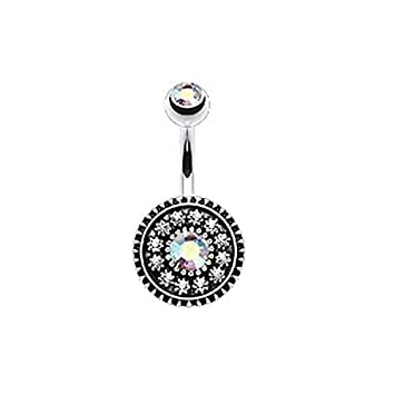Surgical Steel  Zircon Crystal Flower Belly Navel Ring Body Piercing Jewelry