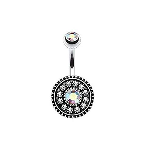 (Opal Zircon Crystal Flower Dangle Navel Belly Button Ring Bar Piercing Jewelry (Styles - #A Colorful Crystal))