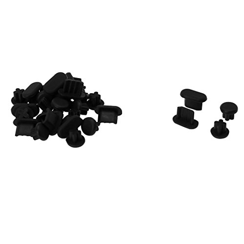 uxcell 15sets Micro USB+3.5mm Earphone Anti-Dust Cap Cover Black for Smart Phone