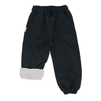 JAN & JUL Kids Water-Proof Fleece-Lined Rain Pants - Black - 8T