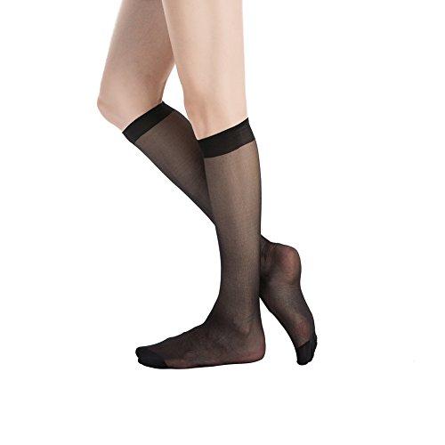 Plus Size Sheer Stockings (Stocking Fox Women's 6-Pack 20-Denier Everyday Knee-High Sheer Sock One Size Black)