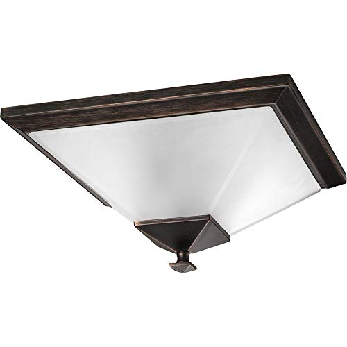 (Progress Lighting P3852-74 2-Light Close-To-Ceiling with Square Etched Glass, Venetian Bronze)