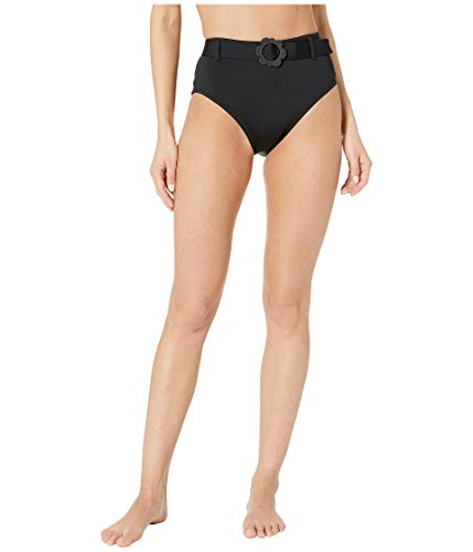 Kate Spade New York Women's Daisy Buckle High-Waist Bikini Bottoms Black Medium