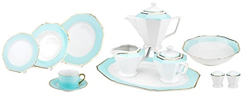 - Majestic Porcelain G1636H 49-Piece Dinner Set, Octagon-Shaped Gold-Plated Light Blue Accent Place Setting, White Porcelain Dinnerware Set, Service for 8