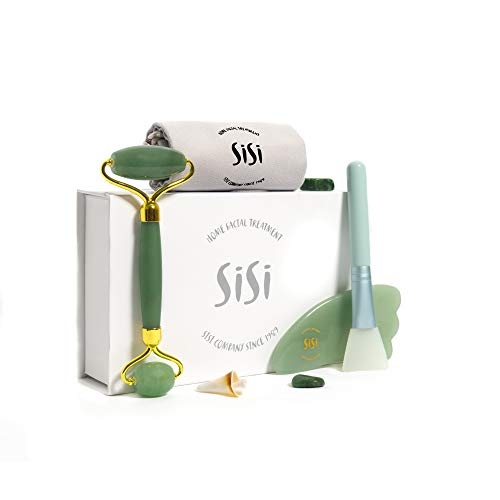 Anti Wrinkle Gift Set - SISI jade roller and gua sha 3in1 massage tools gift set, Noise free Anti-aging Natural aventurine stones Facial lifting Treatment Eye Face Neck Body Beauty Rejuvenate Anti-Wrinkle Mask Brush Scraping