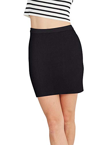 State Cashmere Women's High Waist Knit Stretchable Mini Rib Above The Knee Pencil Skirt Black