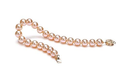 Rose 7-8mm AAAA-qualité perles d'eau douce 585/1000 Or Jaune-Bracelet de perles