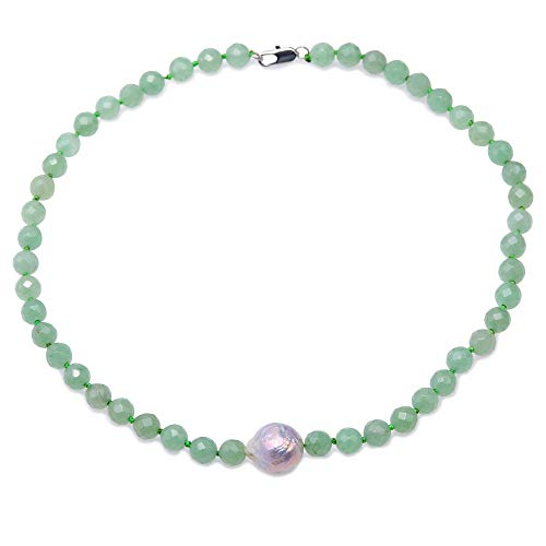 JYX 8.5mm Round Faceted Green Aventurine Jade Necklace with Baroque Pearl Pendant 18""