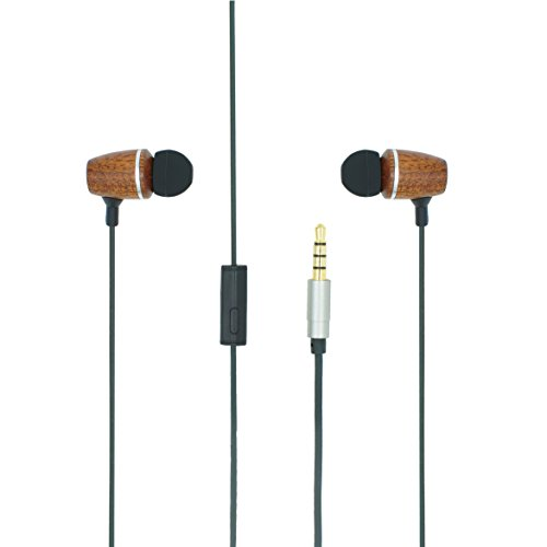 SENWOW 3.5mm Super Bass Stereo Wooden Headphone Earphone Headset Earbud with Microphone and Remote for iPhone Samsung