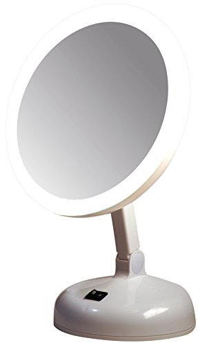 Floxite Fl-10jh 10x Incandescent Circle Light Vanity Mirror, Pearl ()