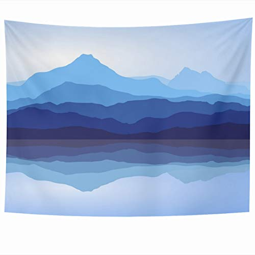 Ahawoso Tapestry 60x50 Inch Peace View Blue Mountains Reflection Lake White Nature Range Hill Abstract Water Outdoors Wall Hanging Home Decor for Living Room Bedroom Dorm (Hill Outdoor Hanging Wall)