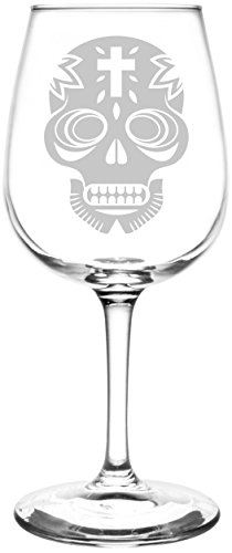 - (Inverted Cross) Mexican Sugar Skull Day of The Dead Calavera Inspired - Laser Engraved 12.75oz Libbey All-Purpose Wine Taster Glass