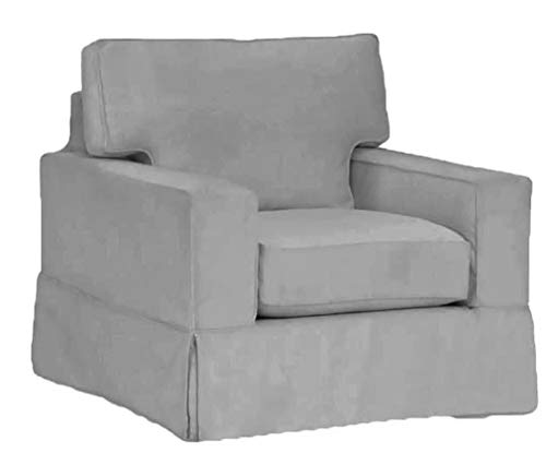 The Cotton Sofa Chair Cover Only Fits Pottery Barn PB Comfort Square Arm Armchair. A Durable Chair Slipcover Replacement (Square Arm Box Edge) (Barn La Pottery)