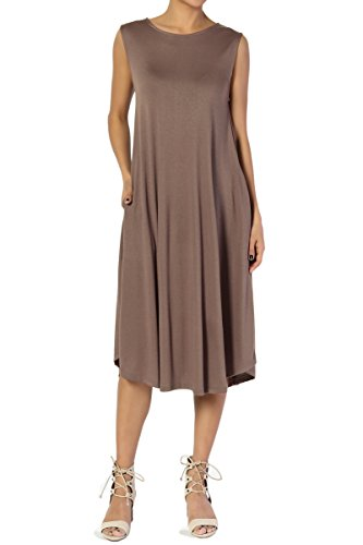 TheMogan Women's Sleeveless Pocket A-Line Fit and Flare Midi Long Dress Mocha L (Knit Seamed Dress)