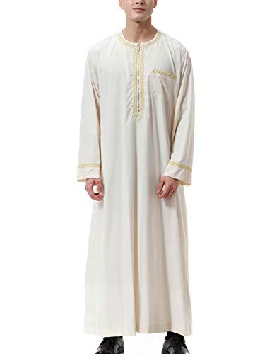 Prière Habit Vêtements Dishdash De Jubba Beige Brodé Hommes Taambab orient Musulman Thobe Moyen Robe wXH7x0nTq